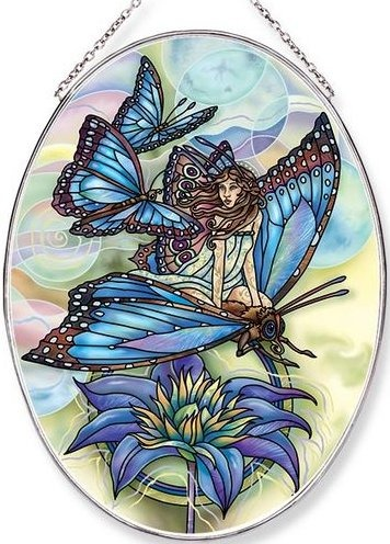 Amia 42654 Wishes Have Wings Large Oval Suncatcher