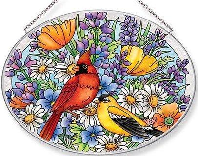 Amia 42658 Cardinal & Goldfinch Large Oval Suncatcher