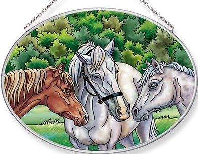 Amia 42676 The Horse Whisperers Medium Oval Suncatcher