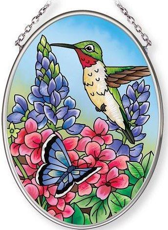 Amia 42686 Hummingbird Heaven Small Oval Suncatcher