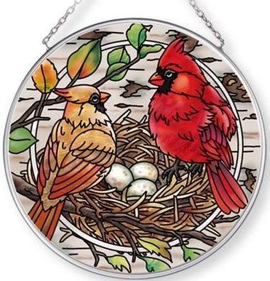 Amia 42707 Nesting Cardinals Medium Circle Suncatcher