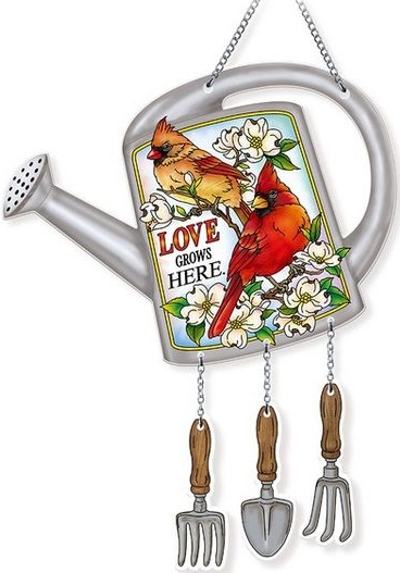 Amia 42732 Love Grows Here Watering Can Suncatcher