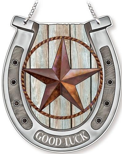 Amia 42736 Rustic Texas Star Horseshoe Suncatcher