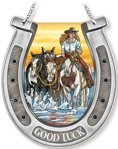 Amia 42738 Sunrise Cowgirl Horseshoe Suncatcher