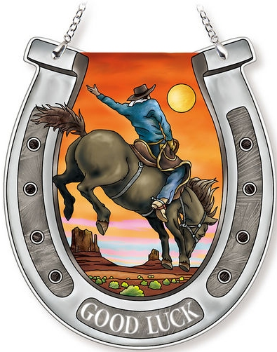 Amia 42739 Sunset Cowboy Horseshoe Suncatcher