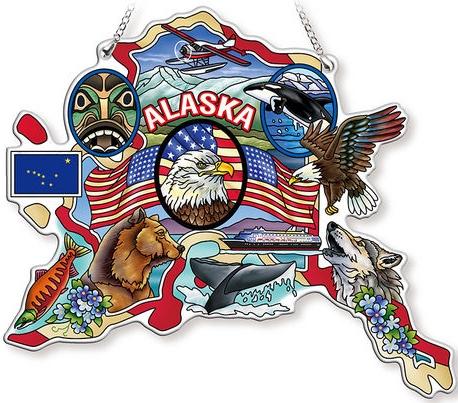 Amia 42740N Alaska Map Suncatcher