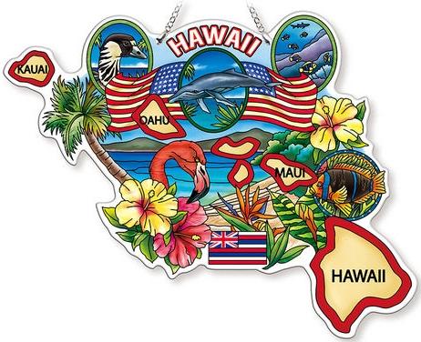 Amia 42744 Hawaii Map Suncatcher