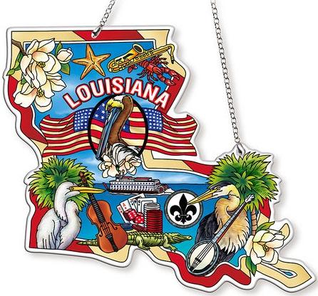 Amia 42745N Louisiana Map Suncatcher