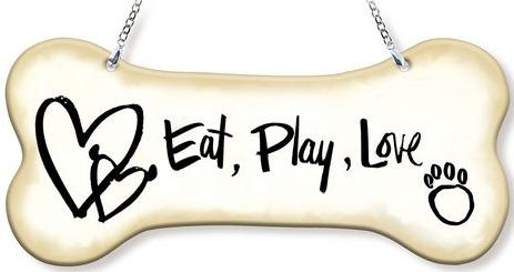 Amia 42753 Eat Play Love Dogbone Suncatcher