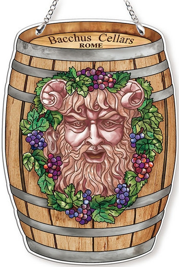 Amia 42765 Roman Wine God Wine Barrel Suncatcher