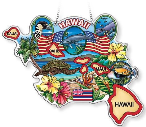 Amia 42770 Hawaii With Sea Turtle Map Suncatcher