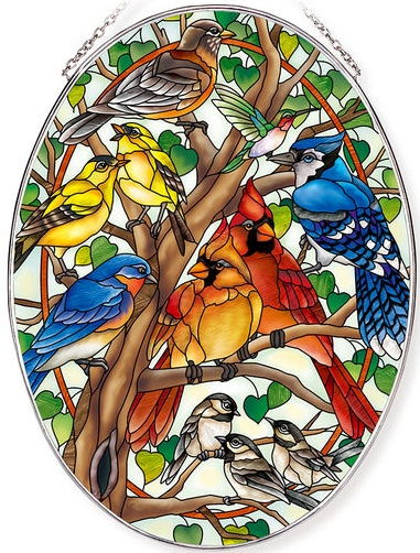 Amia 42798 Wild Birds Co-op Large Oval Suncatcher