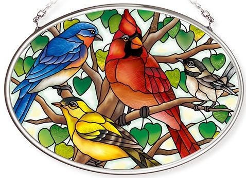 Amia 42800 Wild Birds Co op Small Oval Suncatcher