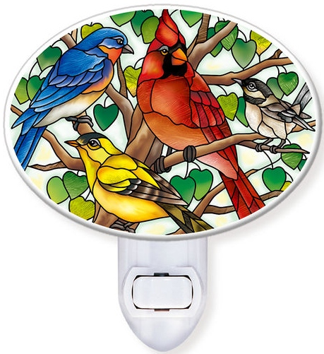Amia 42801N Wild Birds Co-op Night Light