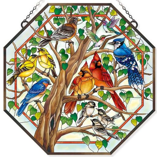 Amia 42802 Wild Birds Co op Beveled Glass Octagon Panel