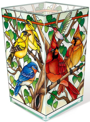 Amia 42804 Wild Birds Co op Rectangular Vase Votive Holder