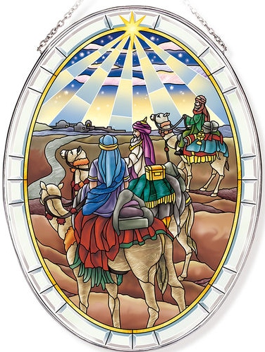 Amia 42814 The Visit of the Wisemen Large Oval Suncatcher