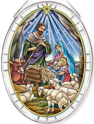 Amia 42815 Jesus Is Born Large Oval Suncatcher