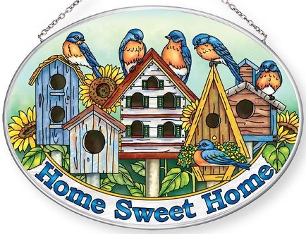 Amia 42858 Bluebirds & Birdhouse Large Oval Suncatcher