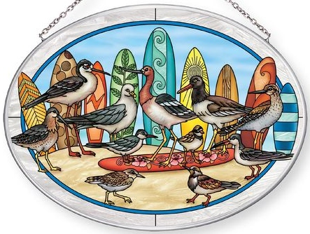 Amia 42859 Surf Birds Large Oval Suncatcher