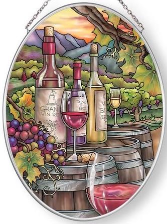 Amia 42862 Wine is Proof Medium Oval Suncatcher