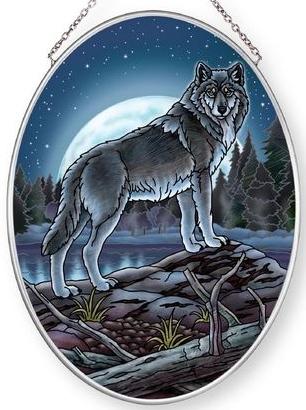 Amia 42867 Mystic Wolf Lake Medium Oval Suncatcher