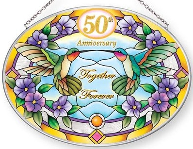 Amia 42869 50th Anniversary Medium Oval Suncatcher