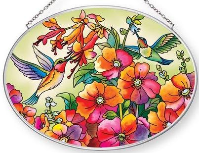 Amia 42872 Hummingbird Hideaway Medium Oval Suncatcher