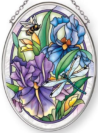 Amia 42886 Dragonflies & Irises Small Oval Suncatcher Vertical