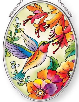 Amia 42887 Hummingbird Hideaway Small Oval Suncatcher
