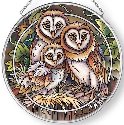 Amia 42896 Owl Be There Medium Circle Suncatcher