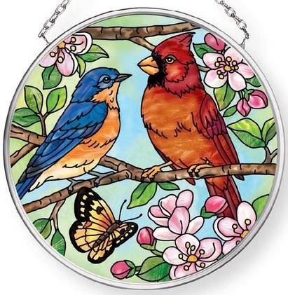 Amia 42910 Favorite Garden Birds Small Circle Suncatcher