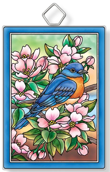 Amia 42931 Bluebird and Dogwoods Rectangle Suncatcher