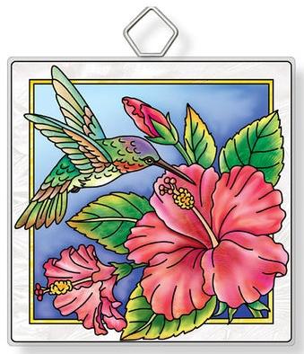 Amia 42932 Hummingbird and Hibiscus Square Suncatcher