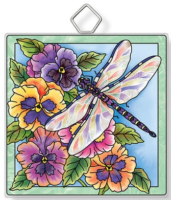 Amia 42934N Dragonfly & Pansies Square Suncatcher