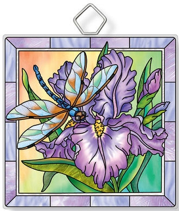 Amia 42936 Dragonfly & Irises Square Suncatcher