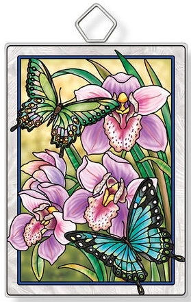 Amia 42937 Butterflies and Orchids Rectangle Suncatcher