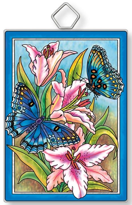 Amia 42939 Butterflies & Lilies Rectangle Suncatcher