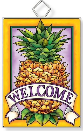 Amia 42940N Pineapple Welcome Rectangle Suncatcher