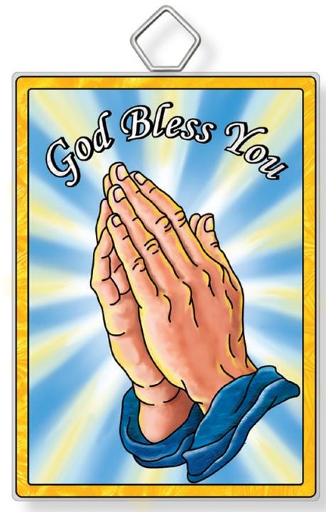 Amia 42941 Praying Hands God Bless Rectangle Suncatcher