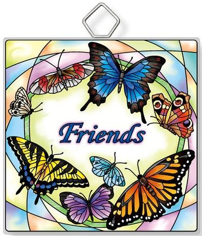 Amia 42944N Friends Rainbow B.Flies Square Suncatcher