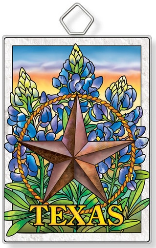 Amia 42948 Blue Bonnet Texas Star Rectangle Suncatcher