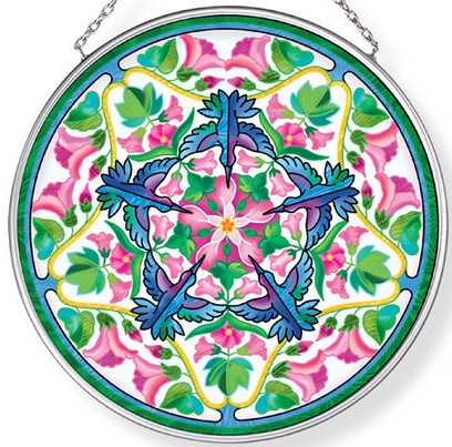 Amia 42960N Hummers And Hollyhocks Medium Circle Suncatcher