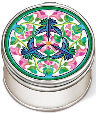 Amia 42966 Hummers and Hollyhocks Petite Circle Jewelry Box