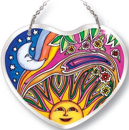 Amia 5184 Night and Day Small Heart Suncatcher