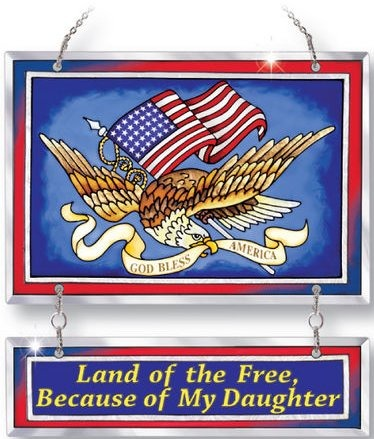 Amia 5189 Land of the Free Military Banner Suncatcher