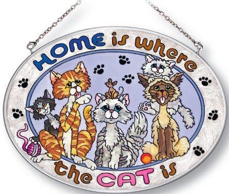 Amia 5191 Home Is Where The Cat Is Medium Oval Suncatcher