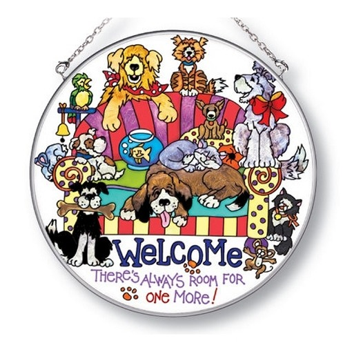 Special Sale 5192i AMIA 5192 Dog Welcome Large Circle Suncatcher