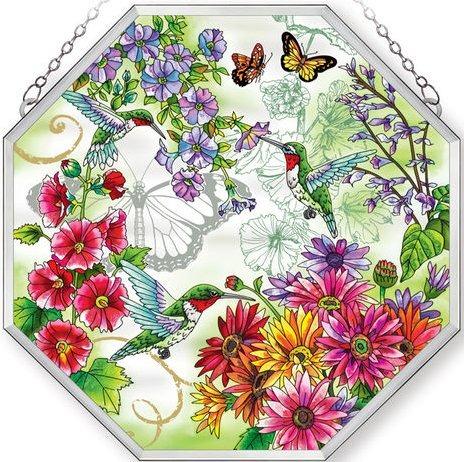 Amia 5234 Hummingbird Garden N Bloom Beveled Medium Octagon Panel