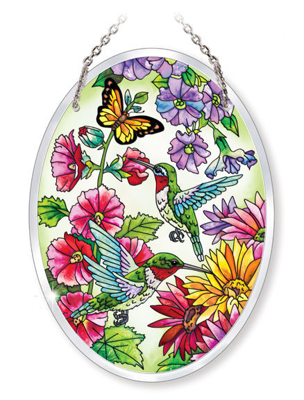 Amia 5236 Hummingbird Garden N Bloom Medium Oval Suncatcher